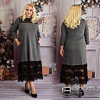 Стильное женское платье турецкий трикотаж  Размеры: 52-54 .56-58