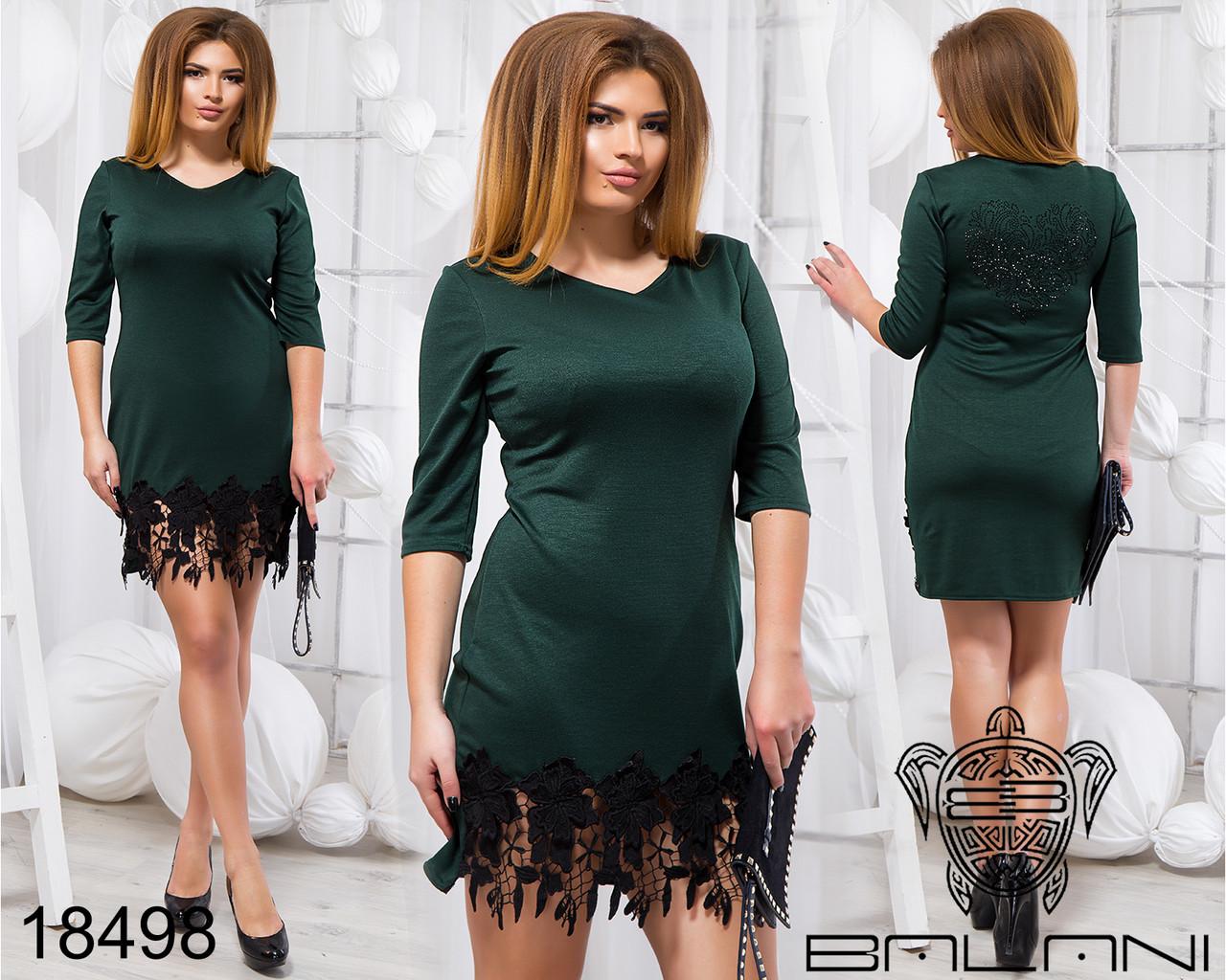 Стильное платье с кружевом - 18498 Темно-зеленое/48
