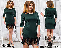 Стильное платье с кружевом - 18498 Темно-зеленое/48, фото 1