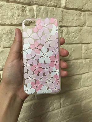 Чехол накладка на iPhone 6/6s с цветами и стразами