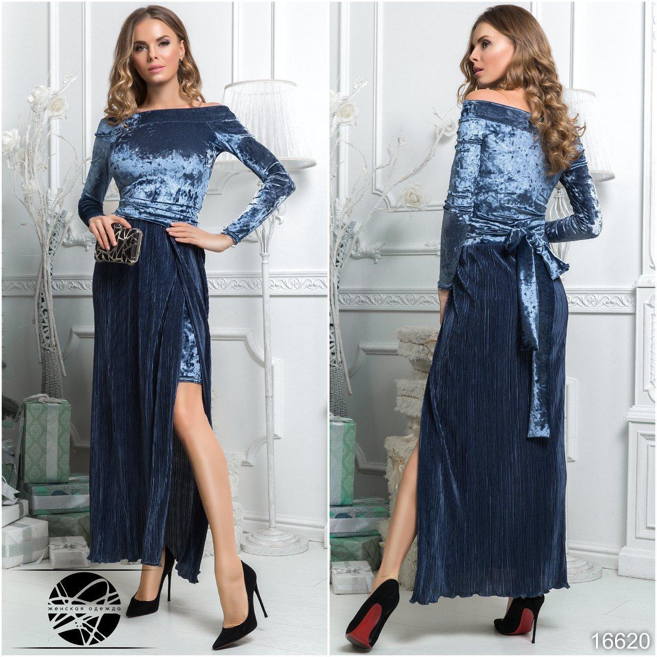 93d1314ba80 Вечернее бархатное платье синего цвета с длинным рукавом. Модель 16620. Размеры  42-48