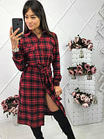 Женское стильное платье-рубашка в клетку с поясом (2 цвета)