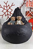 Кресло мешок груша XL кожаное серое