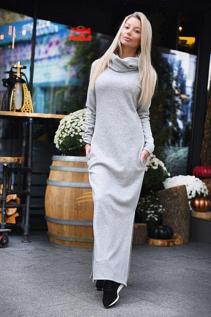 Теплое женское длинное платье трикотаж на меху большого размера