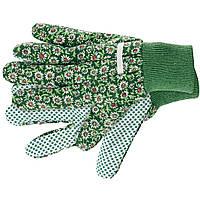 Перчатки садовые х/б ткань с ПВХ точкой, манжет, M //PALISAD 67762