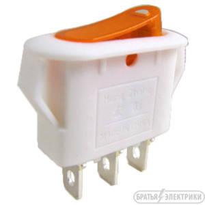 Кнопка узкая овальная 3 контакта с подсветкой оранжевая