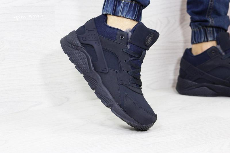 7671614ac7551e Чоловічі зимові кросівки 3744 Nike Air Huarache темно сині (нубук)