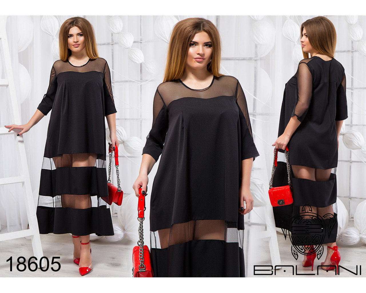 Стильное платье - 18605 Черный/48
