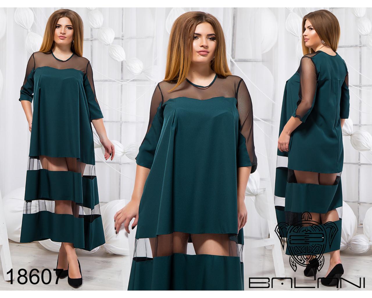 Стильное платье - 18607 Темно-зеленое/48