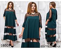 Стильное платье - 18607 Темно-зеленое/48, фото 1