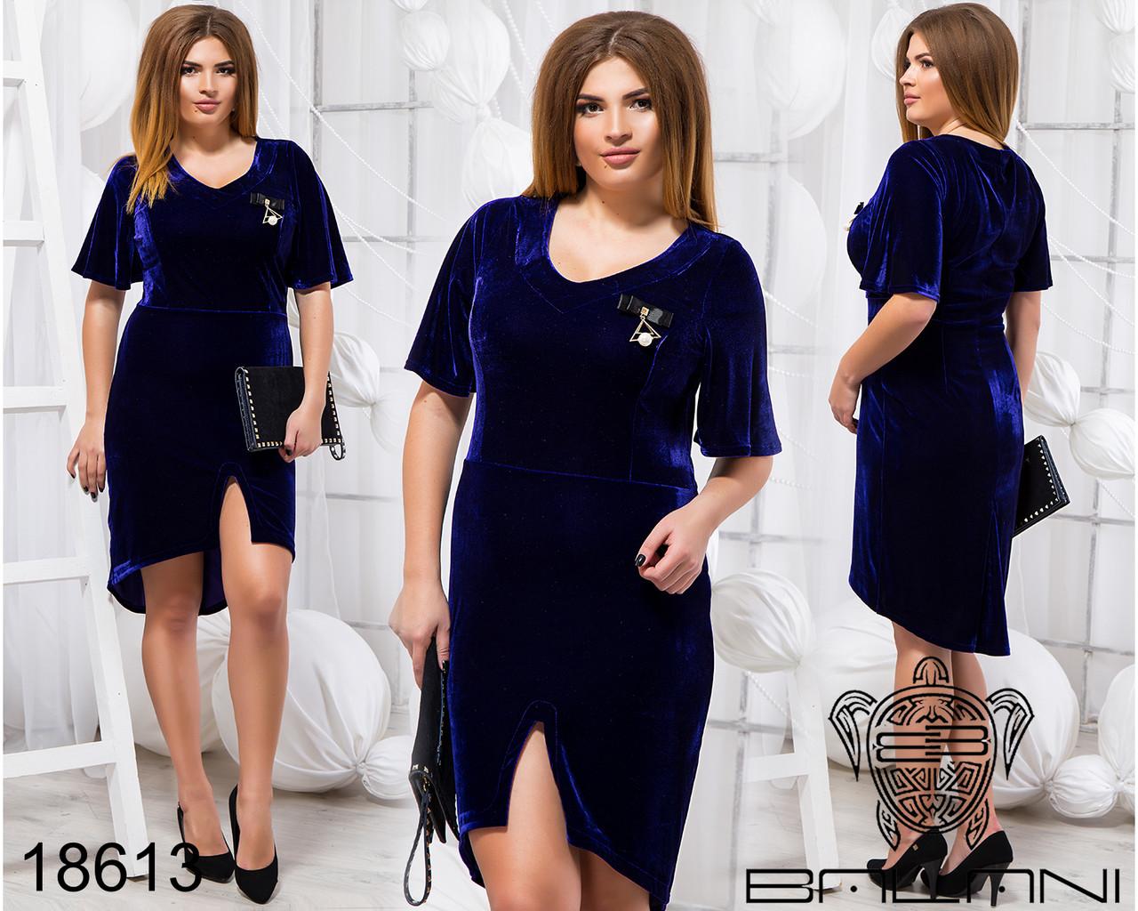 Стильное платье с брошью - 18613 Электрик/