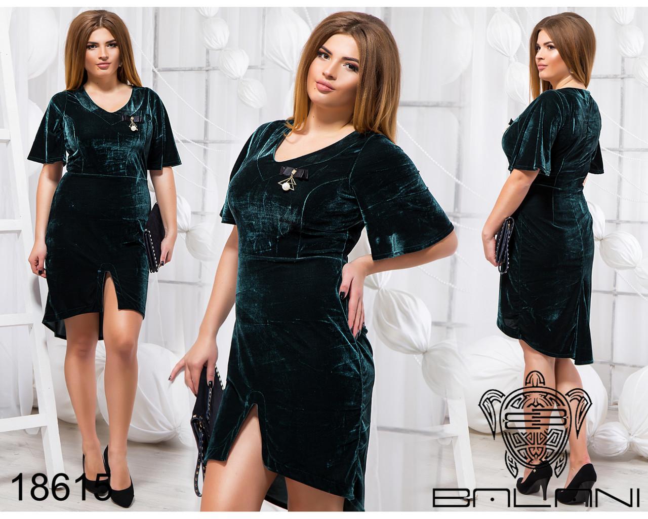 Стильное платье с брошью - 18615 Темно-зеленое/48