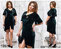 Стильное платье с брошью - 18615 Темно-зеленое/48, фото 1