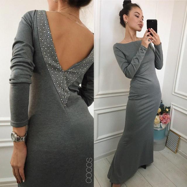 Длинное женское платье с открытой спиной