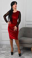 Элегантное платье. Интересные платья. Новая коллекция зима 2017 - 2018. Платье по фигуре с сеточкой в горошек, фото 1