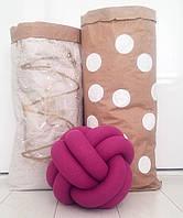 Декоративная подушка узел, малиновая