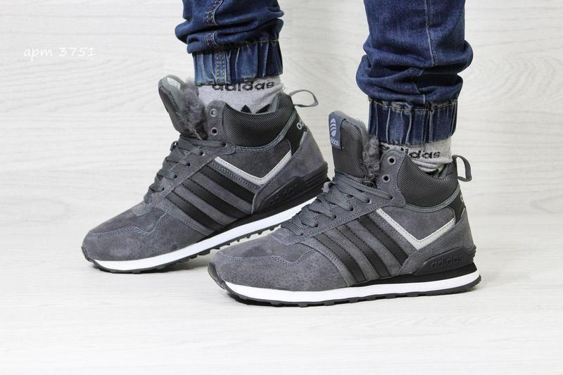 Чоловічі зимові кросівки 3751 Adidas Neo сірі bc57a5909af94