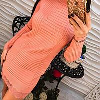 Женское теплое платье-туника машинной вязки с кружевом (4 цвета) марсала
