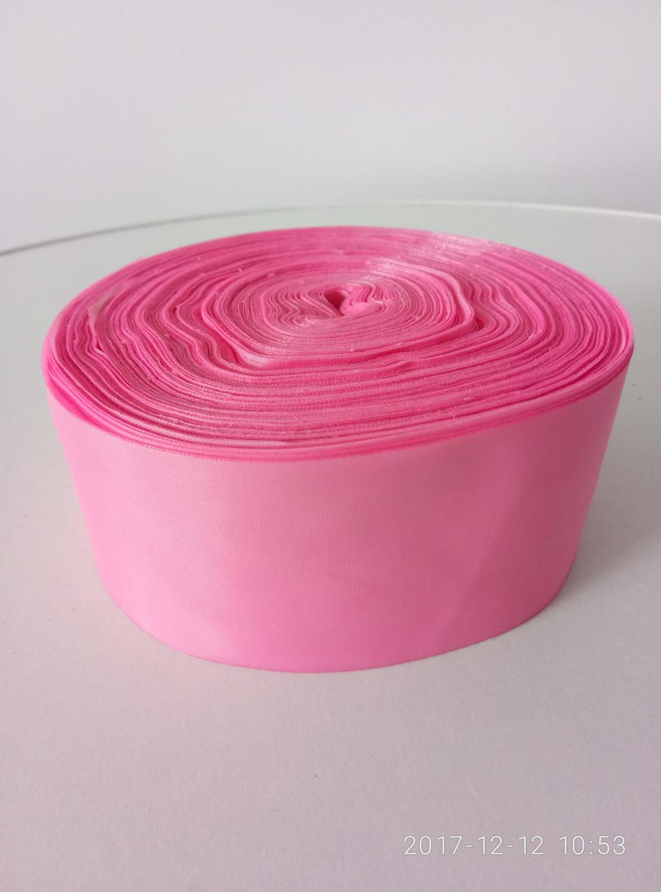 Лента розовая шелковая 5см.
