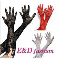 Ажурные кружевные перчатки красные