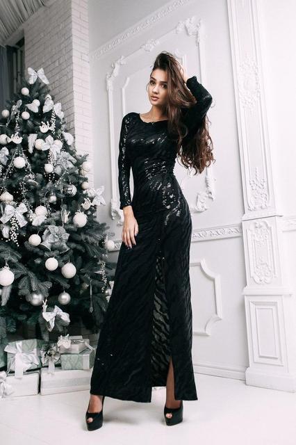 Нарядное женское длинное платье в пайетках