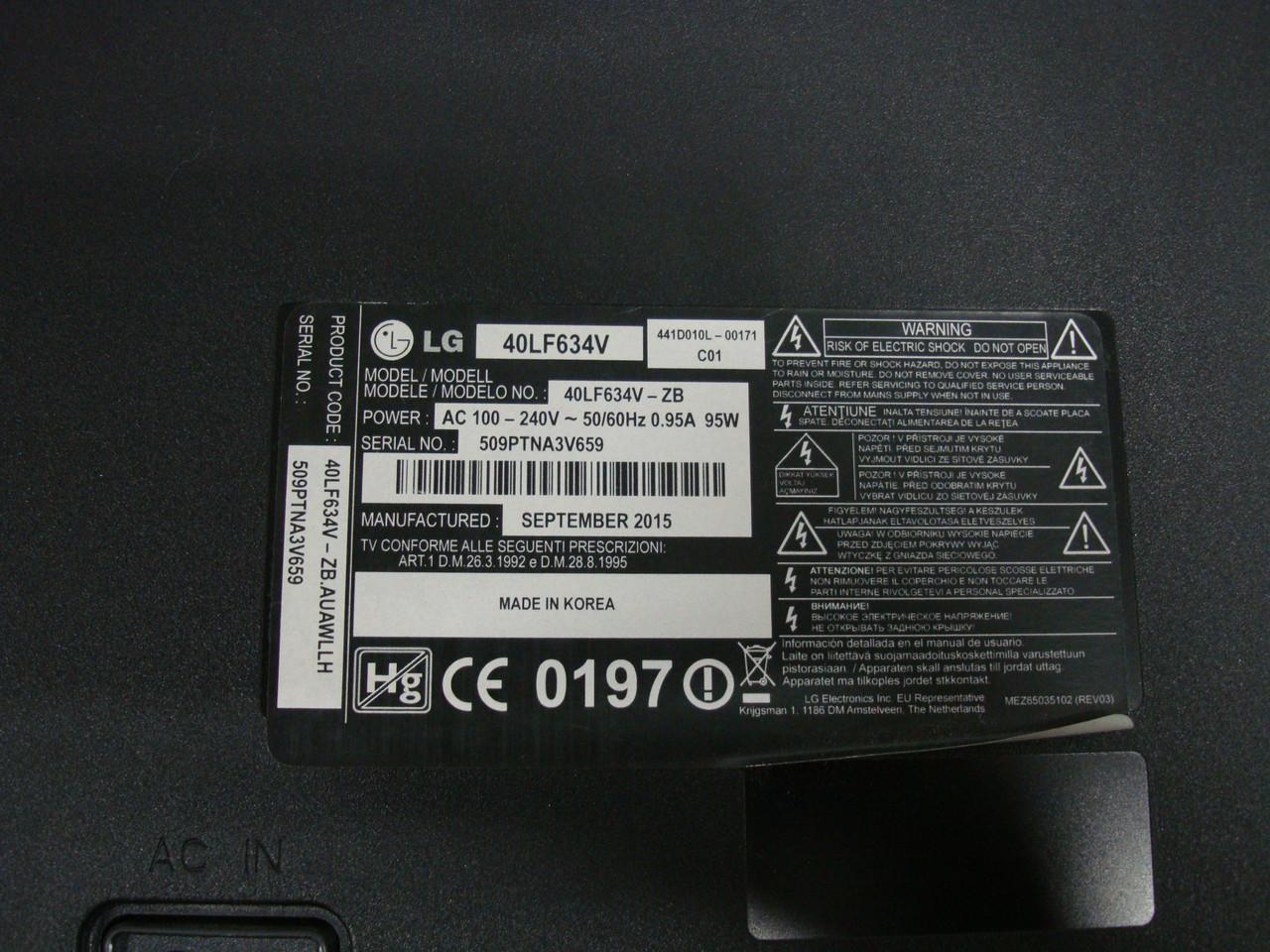 Запчасти к телевизору LG 40LF634V (EAX66207203(1.0), EAY63630401, V400HJ6-PE2)