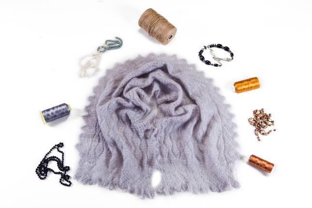 Оренбургский пуховый серый палантин Зарина, фото 2