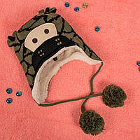 Вязаная шапка для мальчика на завязках с мехом внутри зеленый жираф CMF W16-05 02 Green