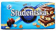 Шоколад Orion Studentska Duomix Zele a Rozinkami,белый и молочный с изюмом и орешками(180 гр) Чехия