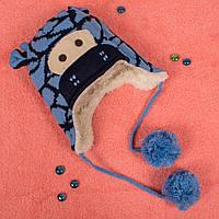 Вязаная шапка для мальчика на завязках с мехом внутри голубой жираф CMF W16-05 03 Blue