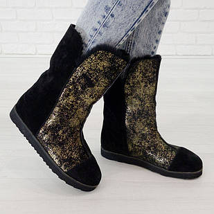 Угги натуральные Woman's heel 36 золотистые (О-822)