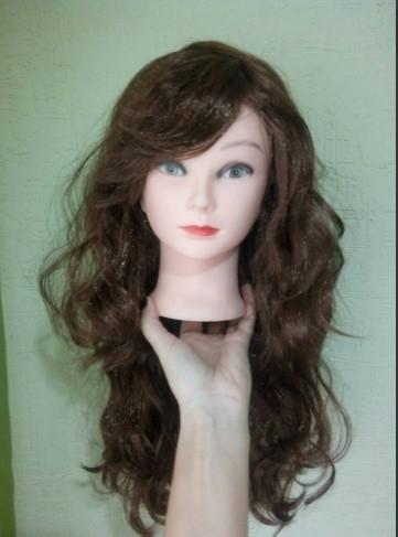 Карнавальный парик длинный с локонами коричневый