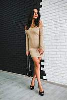 Женское модное платье из замши с открытыми плечиками (2 цвета)