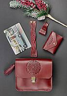 Подарочный набор кожаный женский виноград (сумка, визитница, браслет, брелок, открытка) ручная работа