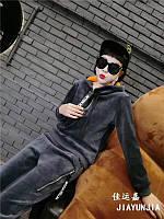 Велюровый спортивный костюм серый ХЛ