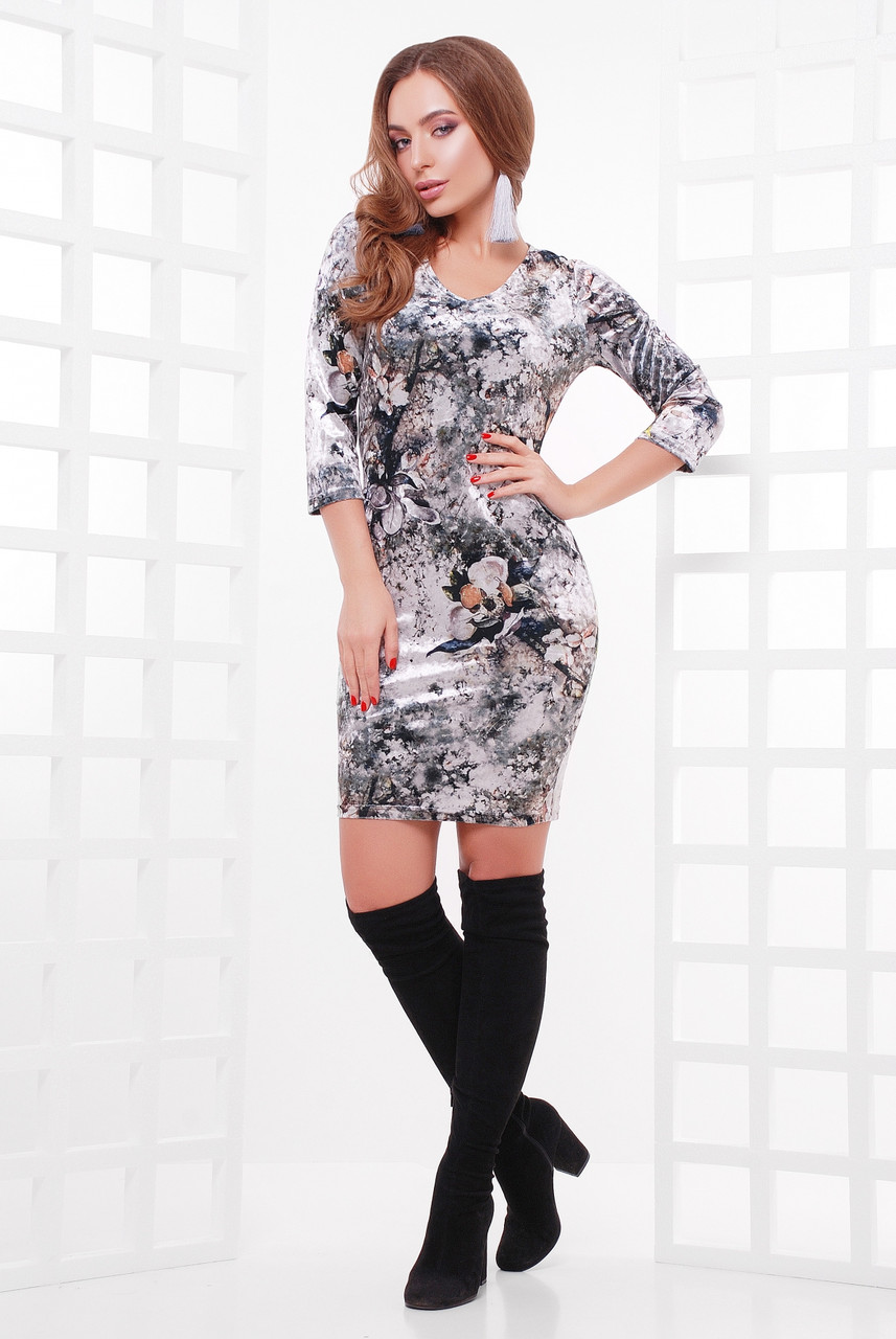 Стильное женское велюровое платье по фигуре с абстракцией, рукав 3/4, принт3