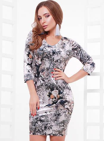 Стильное женское велюровое платье по фигуре с абстракцией, рукав 3/4, принт3, фото 2