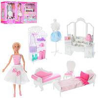 Мебель 99045 (6шт) трюмо 29-17см,софа,кровать,стул,кукла 28см,животное,постель,в кор-ке, 72-38-13см