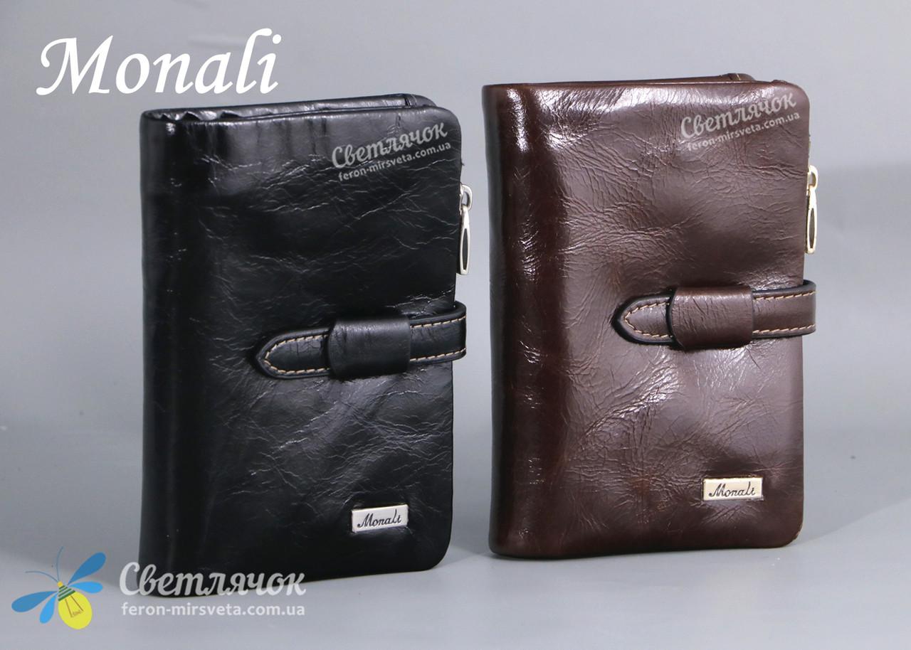 Кошелек мужской кожаный Monali черный/коричневый