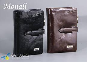 Кошелек мужской кожаный Monali черный/коричневый, фото 2