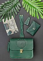 Подарунковий набір шкіряний жіночий зелений (сумка, візитниця, браслет та брелок, листівка) ручна робота