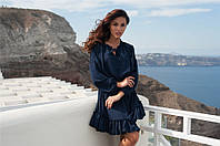 Легкое шифоновое платье Linda с пышной юбкой декорированой воланом и воротником на завязке (5 цветов)