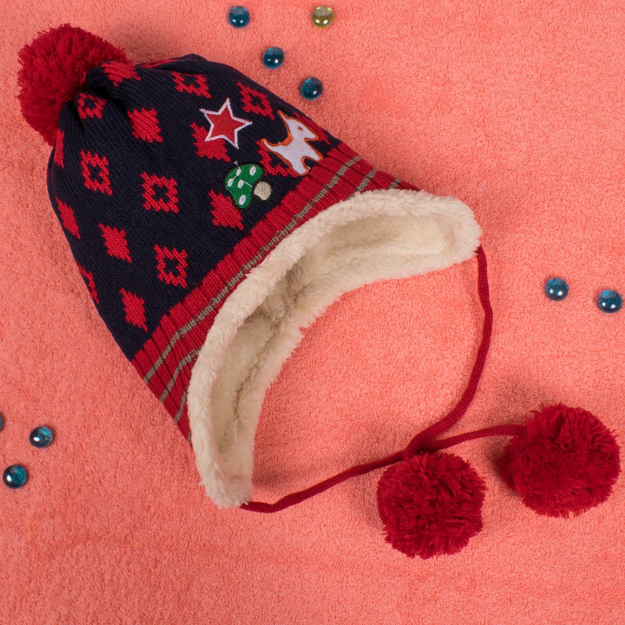 Вязаная шапка для мальчика на завязках с мехом внутри красная CMF W16-