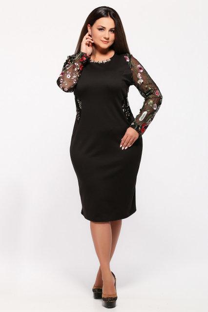 Женское нарядное платье Адель цвет черный размер 56,58 / большого размера
