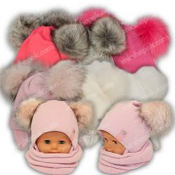 ОПТ Детские шапки красивые для девочки с двумя помпонами, р. 46-48 (5шт/набор)