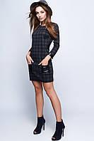 Женское модное платье в клетку с карманами черный, 42