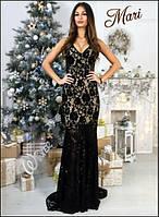 Женское стильное вечернее платье в пол из гипюра (4 цвета) черный, Рассчитано на рост до 1,80