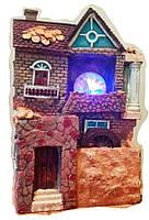 Фонтан Замок декоративный с подсветкой разноцветной, мельницей и шарикм 32 см комнатный