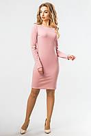 Базовое женское пудровое прямое платье  до колен с длинным рукавом