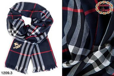 Синий кашемировый стильный  шарф Burberry